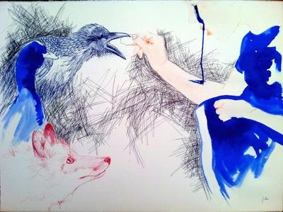 Juliette Choné - Un dimanche en famille, 2013, stylos, encre, aquarelle, 106x75 cm