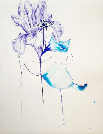 Juliette Choné - Ne pars pas, 2013, Stylo bille et Encre sur papier 56X76cm