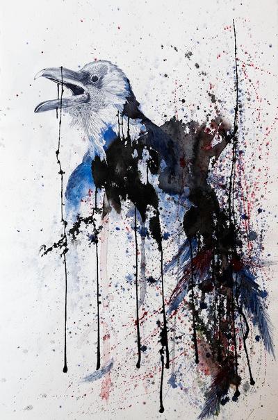 Juliette Choné - Le Cri - Diptyque partie droite, 2012, encre et stylo bille sur papier, 75x106 cm