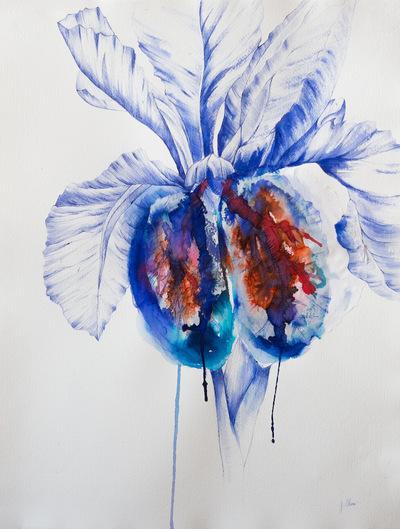 Juliette Choné - Respire !, 2014, Stylo bille, Encre et papier collé, 50X65cm