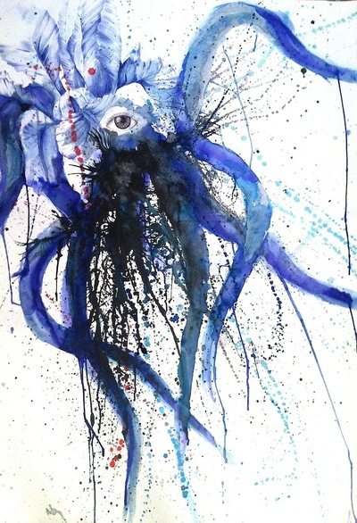 Juliette Choné - Sang dencre, 2014, Encre et stylo bille sur papier, 76x112cm