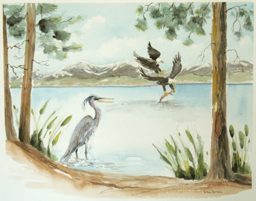 Esther Baran Artwork - Blue Heron and Eagles - $870