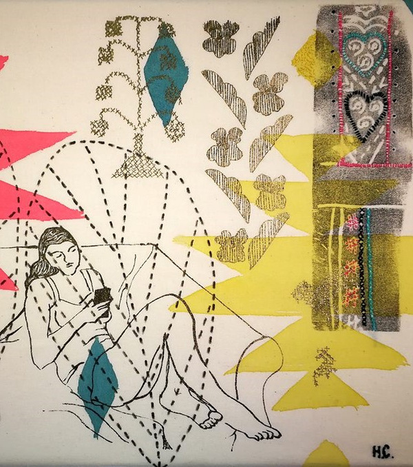 Harriett Chapman Designs - Printed and Hand painted image from Assembling time through pattern Exhibition