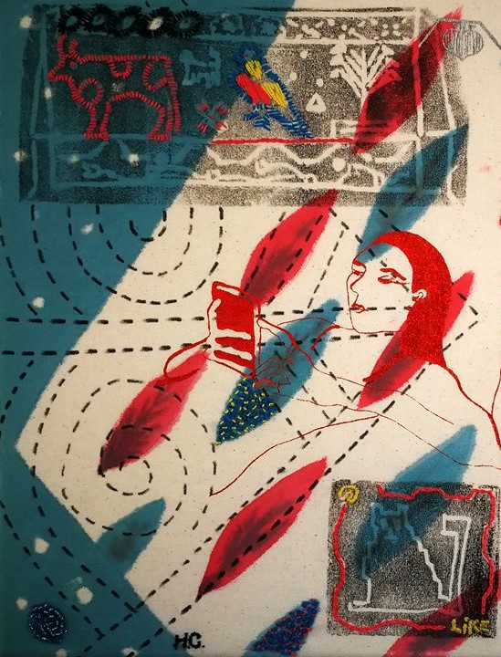 Harriett Chapman Designs - Printed and Hand painted image from Assembling time through pattern Exhibition.