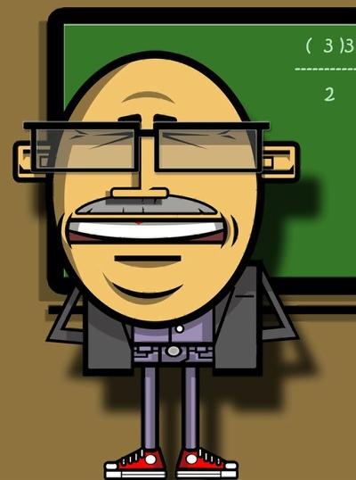 Adolfportfolio - Para las actividades del colegio de mis hijos he diseñado este profesor dando la lección del día.