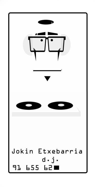 Adolfportfolio - Tarjeta cliente, DJ (parte delantera). minimalista.