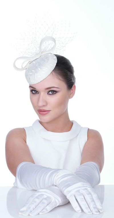 My Little Hat Shop - Bridal ivory cocktail hat.