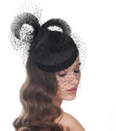 My Little Hat Shop - Black cocktail 1950s style pillbox hat, covered with silk and decorated with ostrich feathers and beads and netting.