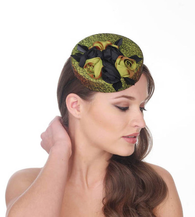 My Little Hat Shop - Green silk pillbox hat decoration with silk roses.