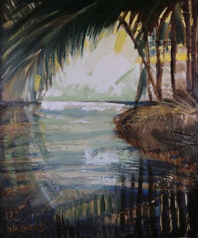 izabelalatos - Meditation on the Backwater. Kerala 4. India 2016. 65 x 54 cm oil on canvas