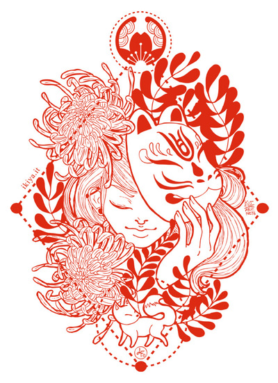 kitsune art - Graphic for Ikiya shopper