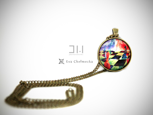 Jolanta Wołowiec - medalion na łańcuszku ozdobiony miniaturą obrazu, którego autorką jest Ewa Chełmecka (WE004) www.ewachelmecka.pl https://www.facebook.com/evachelmeckaart
