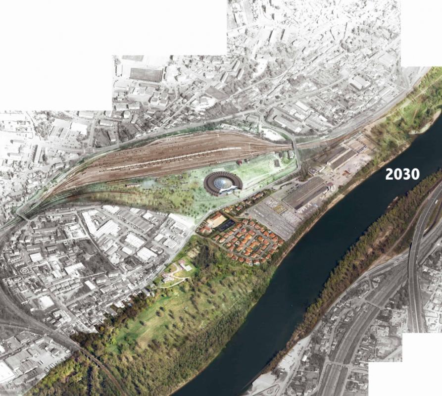dumas-architectures Lyon - Vue aérienne de Grigny en 2030