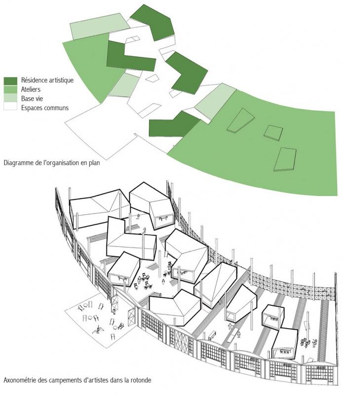 dumas-architectures Lyon - Axonométrie du «village» de la résidence artistique