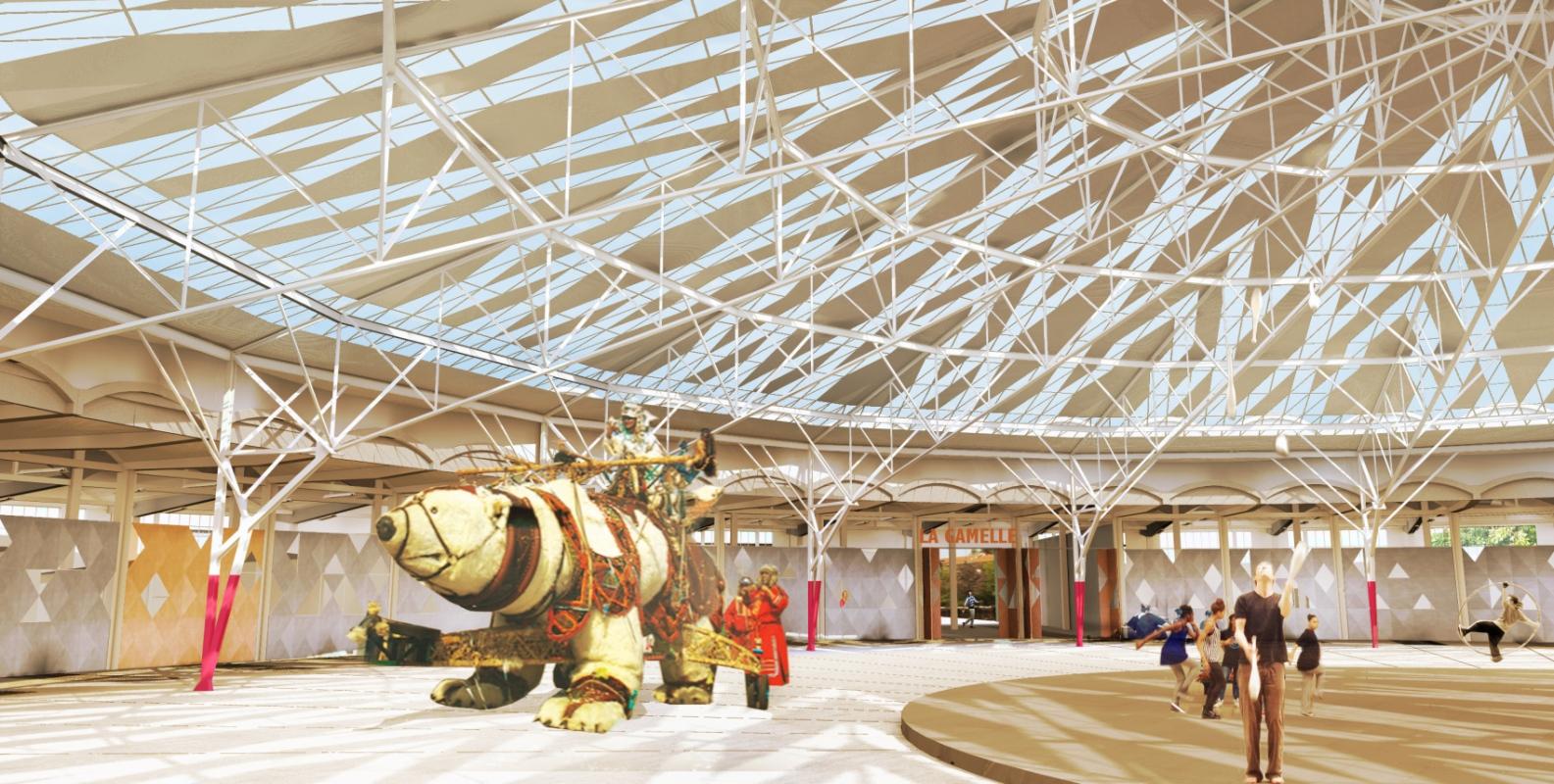 dumas-architectures Lyon - Des artistes en résidence en répétition sous le parapluie de la place des spectacles.