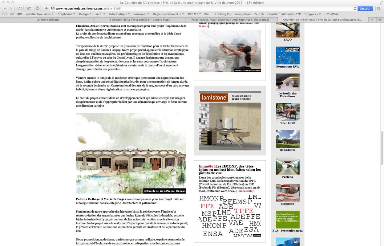 dumas-architectures Lyon - Le courrier de larchitecte - prix de la jeune architecture 2013