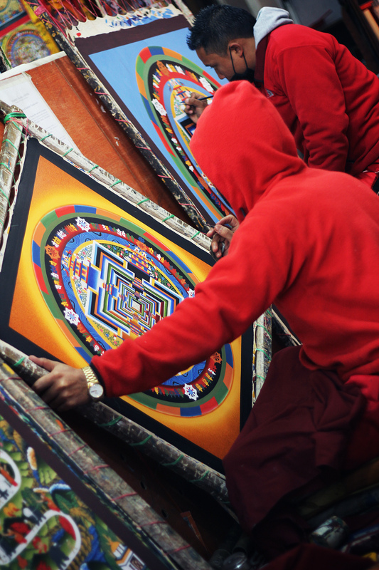 Iselin Shaw of Tordarroch - Young boys working hours on end to produce these incredible Mandalas in Kathmandu, Nepal.