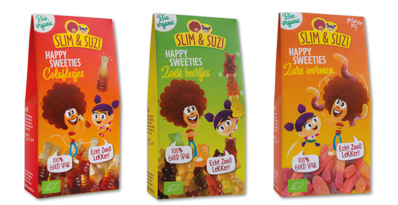 Nicoline Caris, artdirection and graphic design - Ontwikkeling characters Slim&Suzi en packaging.