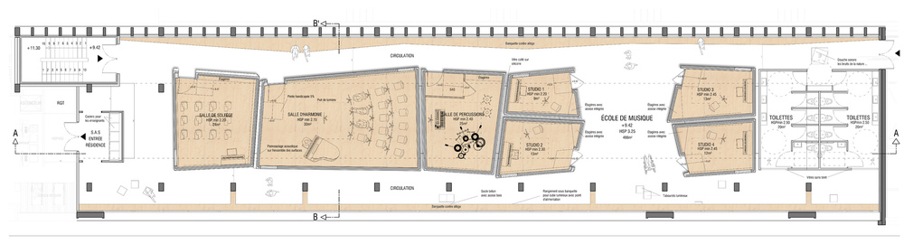 ARCHICOSMIC - SCHOOL OF MUSIC / PLAN / R+2