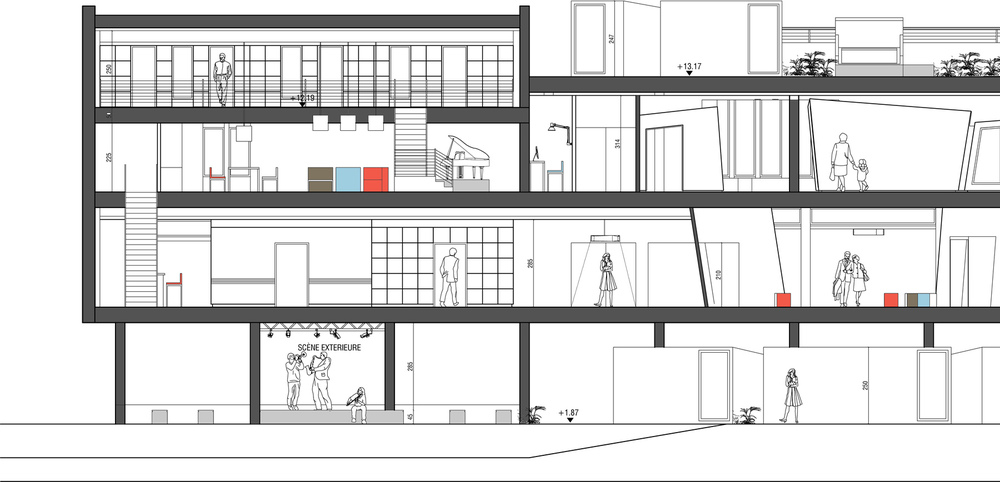 ARCHICOSMIC - STUDIO + RESIDENCY / SECTION / R+1 / R+2