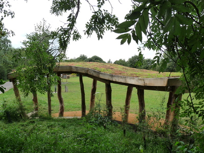 Mike Shadbolt Landscape Architect - The shelter from the rear, showing green sedum roof