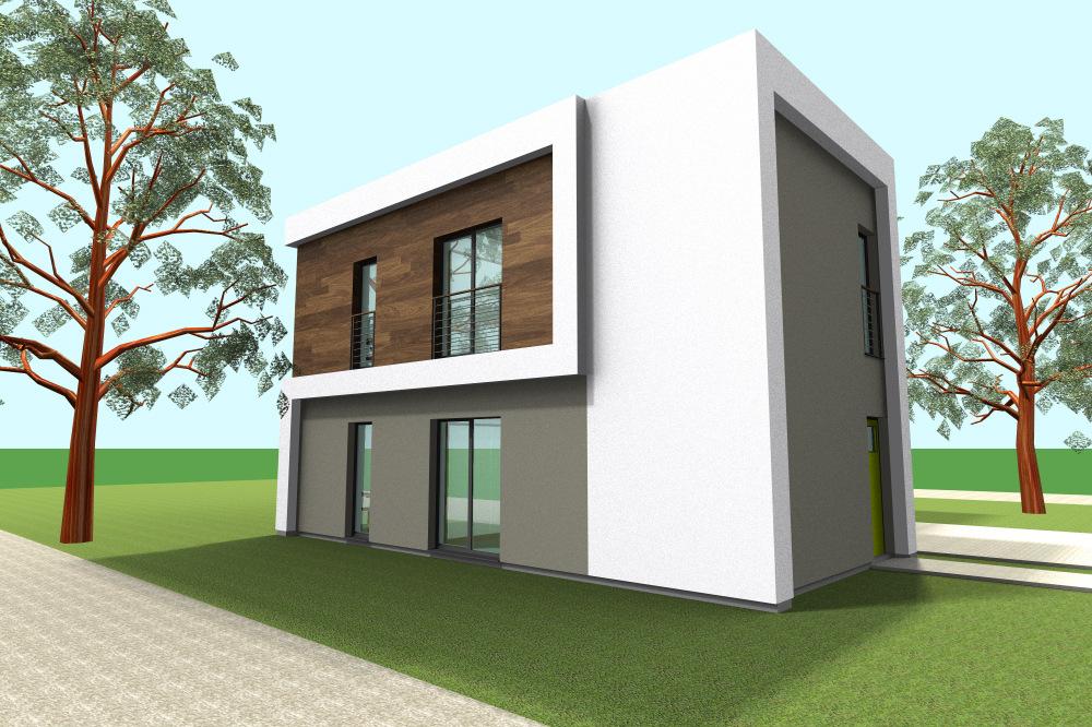 Architekt Maciej Hyz - Elewacja od sąsiada - wizualizacja robocza.
