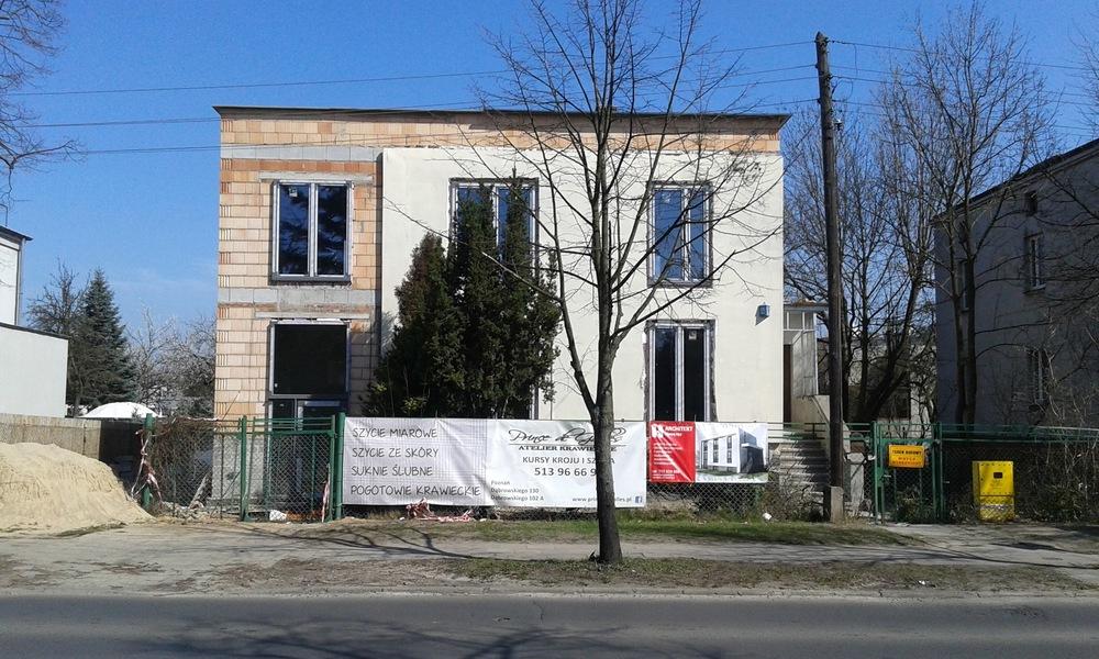 Architekt Maciej Hyz - Elewacja frontowa - zdjęcie z budowy, kwiecień 2015 r.