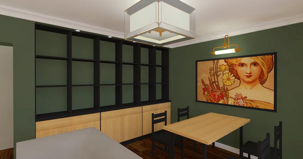 Architekt Maciej Hyz - Biblioteczka w salonie.