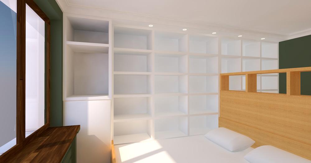 Architekt Maciej Hyz - Biblioteczka w sypialni.
