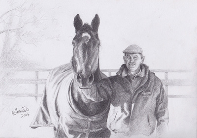 Andrew Shannon Art - A man and his horse - A4 Pencil Sketch