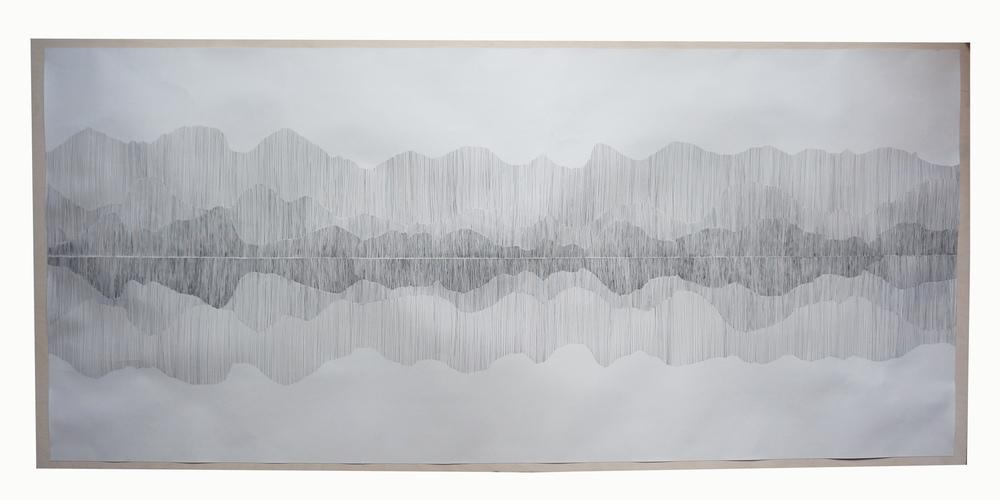 Dackelid Form - Illustration, abstrakt spegling av Dalsland. Vinnare av Olga Birkfeldts konstpris 2014. Illustration på papper 166x74 cm