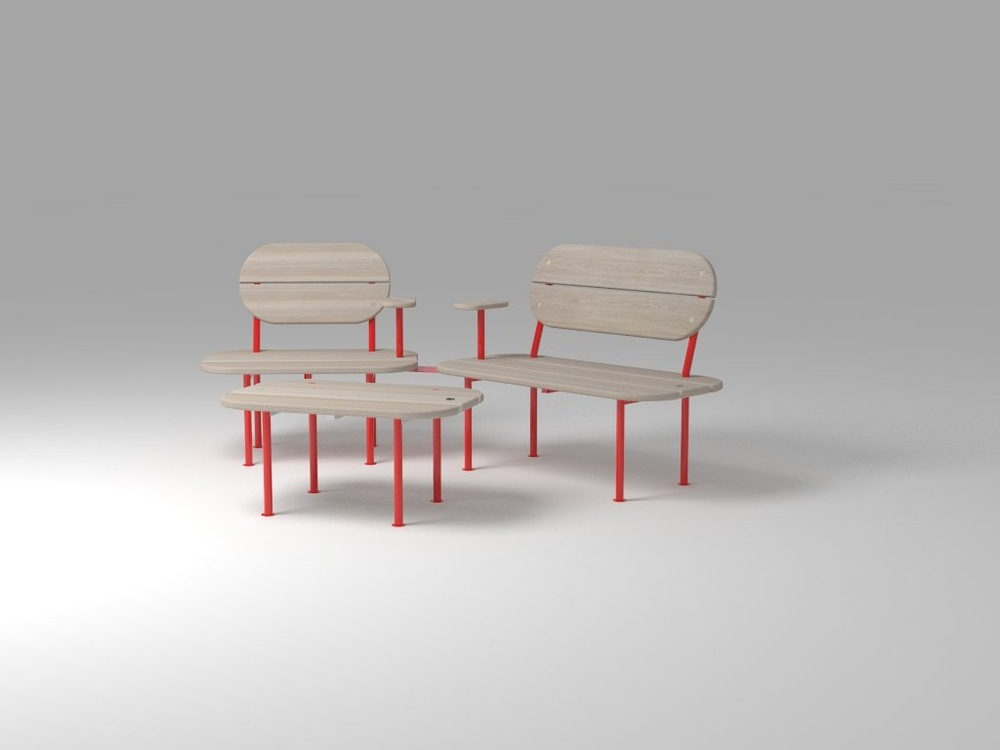 Dackelid Form - Red version of the bench. Its possible to take of the backseat to make a small table of the benche.