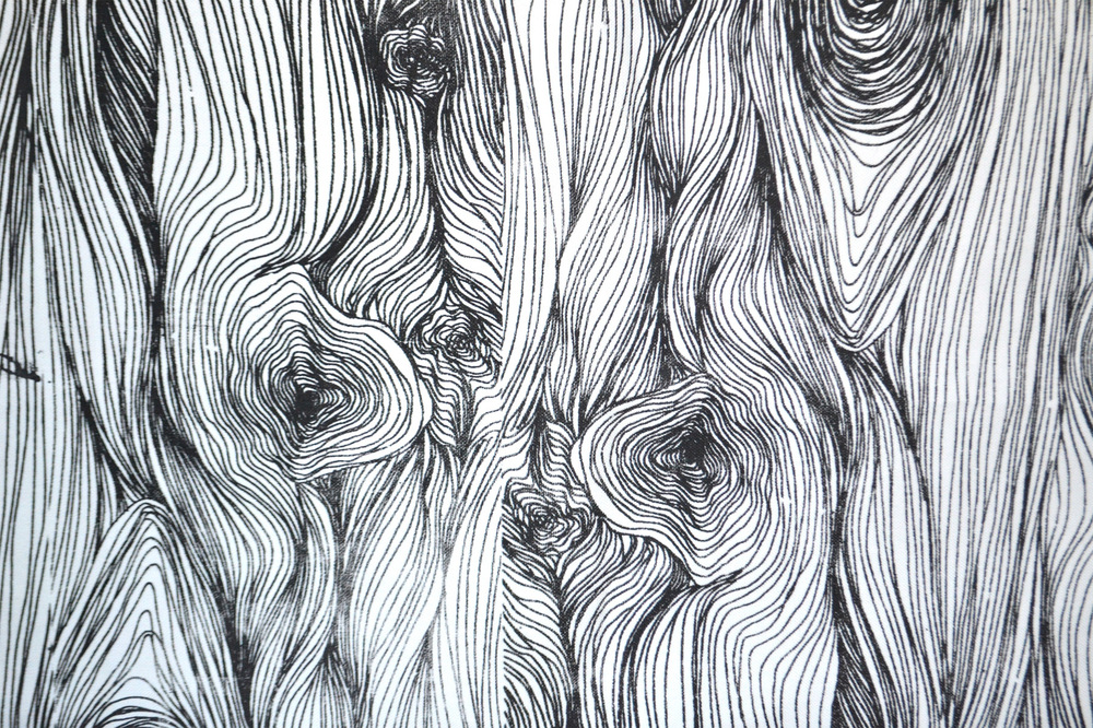 Dackelid Form - Abstraction of wood grain in with screen printing.