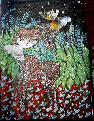 OLA PEREC BATIK - Łosie. Batik plus litografia// Moose