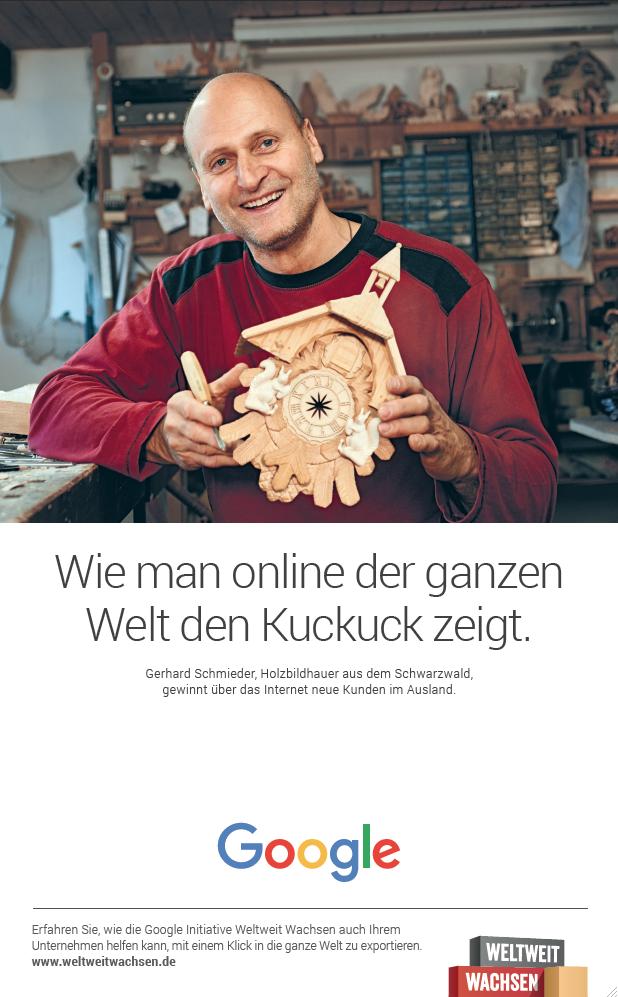 Fotografin Hamburg Reportage Portrait Reise Editorial Corporate Werbung Photography - Google Ad Weiter Wachsen, Gerhard Schmieder, Schonach. Agency 72&sunny, Amsterdam