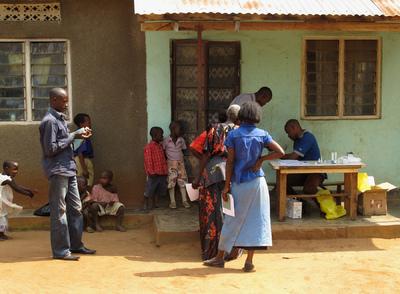 Education & Health Trust Uganda - Lining up for instant HIV test
