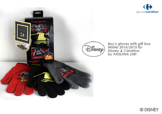 PAULIINA LIIRI - DESIGNER - Boys gloves with gift box winter 2014/2015 for Disney & Carrefour