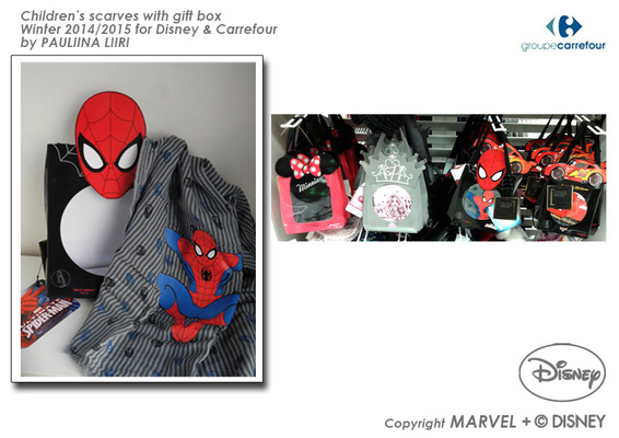 PAULIINA LIIRI - DESIGNER - Childrens scarves with gift box winter 2014/2015 for Disney & Carrefour