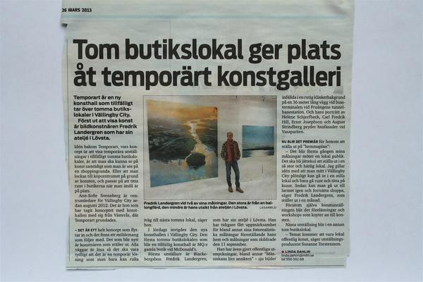 Fredrik Landergren - artist in Stockholm - Mitt i Bromma 2013