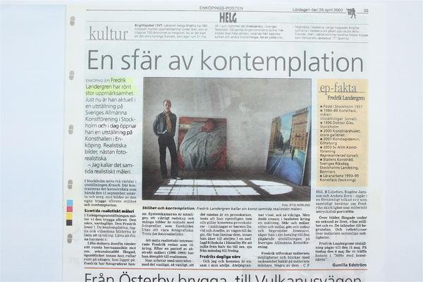 Fredrik Landergren - artist in Stockholm - Enköpingsposten 2003