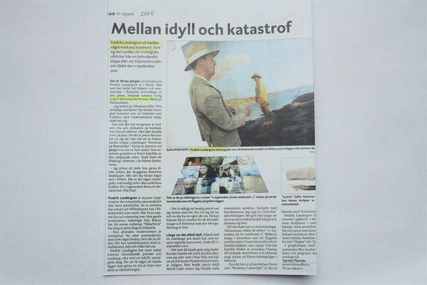 Fredrik Landergren - artist in Stockholm - Nordvästra Skånes Tidningar 2005