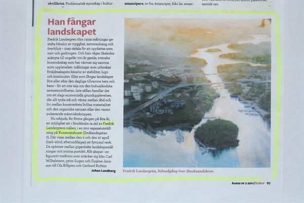 Fredrik Landergren - artist in Stockholm - Axess Magasin 2011