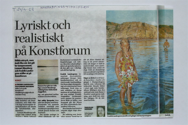Fredrik Landergren - artist in Stockholm - Norrköpingstidningen 2008