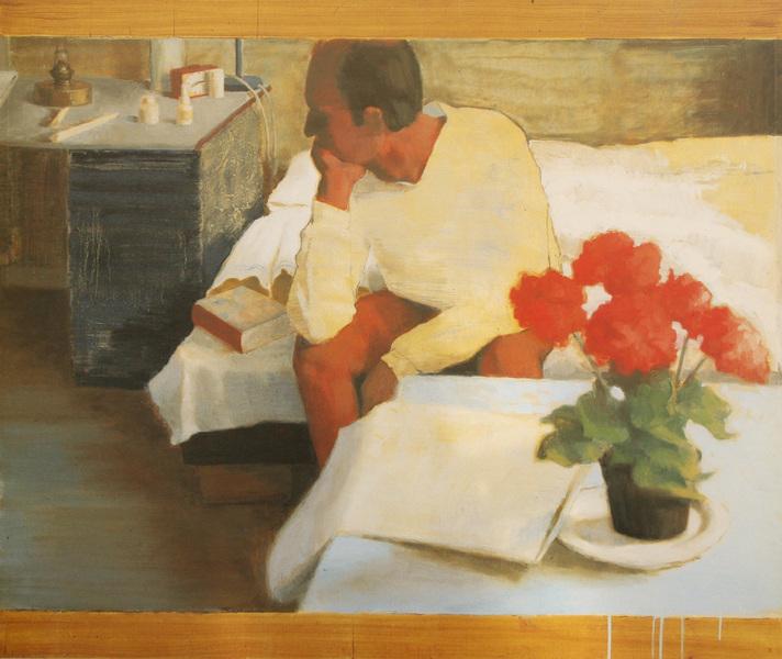 Fredrik Landergren - artist in Stockholm - Man on bedside 1996