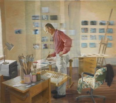 Fredrik Landergren - artist in Stockholm - Artist painting in studio