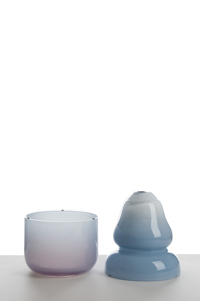 Valner Glass s.r.o. - The Cap vase - Low, Blue and opal white  Code: V1317 Blue and opal white
