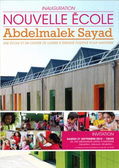 Nicolas Favet Architectes - 21/09/2013 Inauguration du Groupe scolaire Abdelmalek Sayad à Nanterre