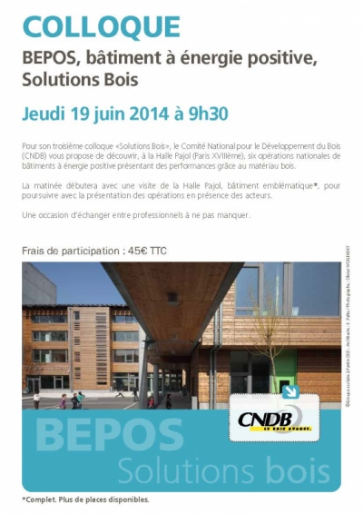 Nicolas Favet Architectes - 19/06/2014 Participation au colloque du CNDB: BEPOS, Solutions Bois