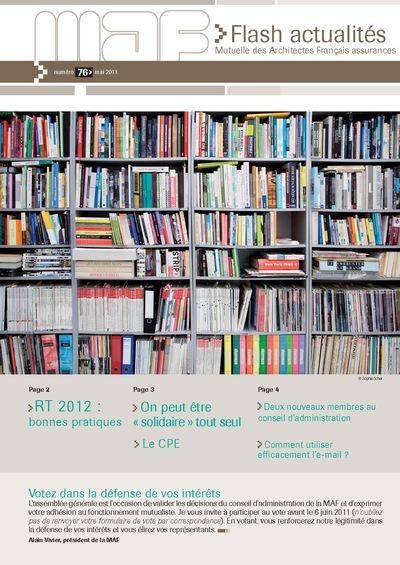 Nicolas Favet Architectes - 10/05/2011 Publication dans la revue Flash actualités n°76 de la Mutuelle des Architectes Français assurances
