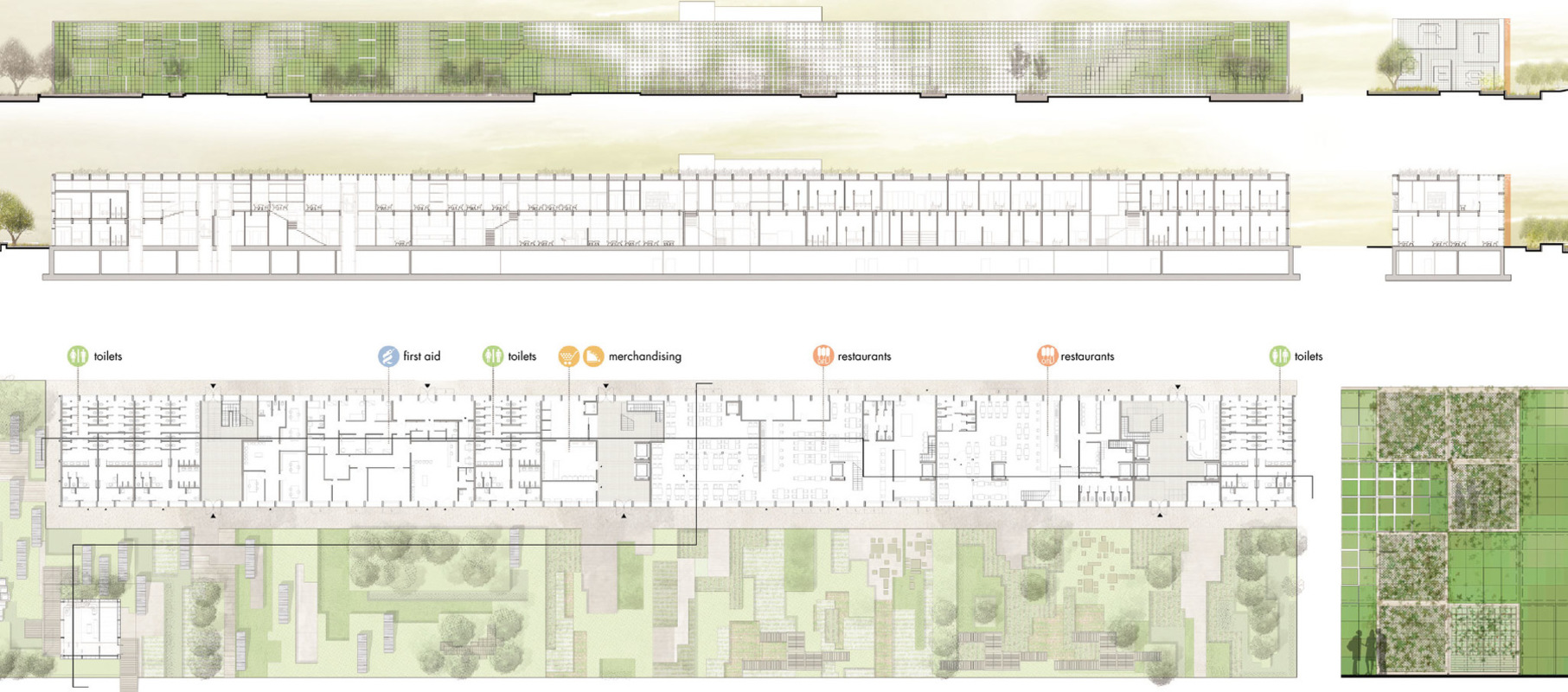 Tamandua - Plan and section of the service buildings